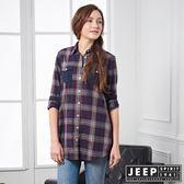 【JEEP】女裝 拼接造型格紋長版襯衫 (紅藍格)
