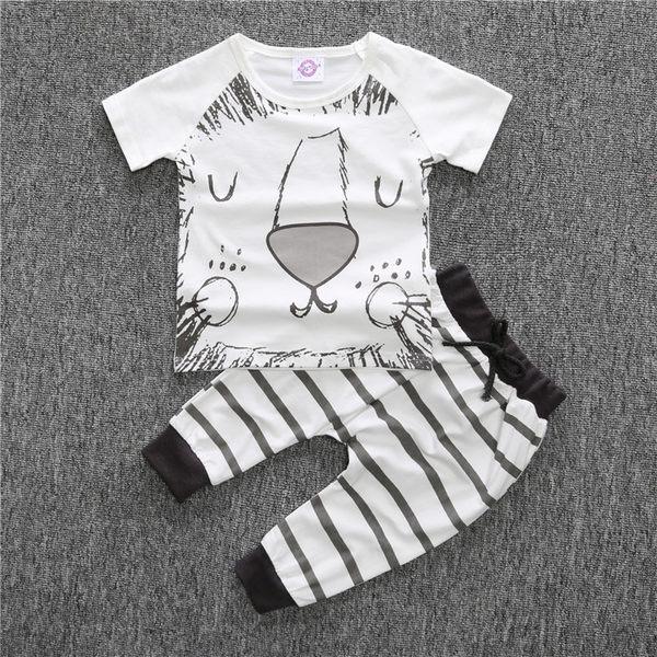 ins爆款夏季家居嬰兒純棉寶寶獅子臉短袖T恤長褲童裝- 預購