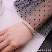 純銀手鍊女S925純銀銀珠圓珠轉運珠佛珠首飾品日韓范甜美學生手飾 交換禮物