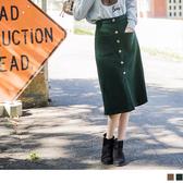 《CA1497》面磨毛造型口袋純色排釦A字裙 OrangeBear
