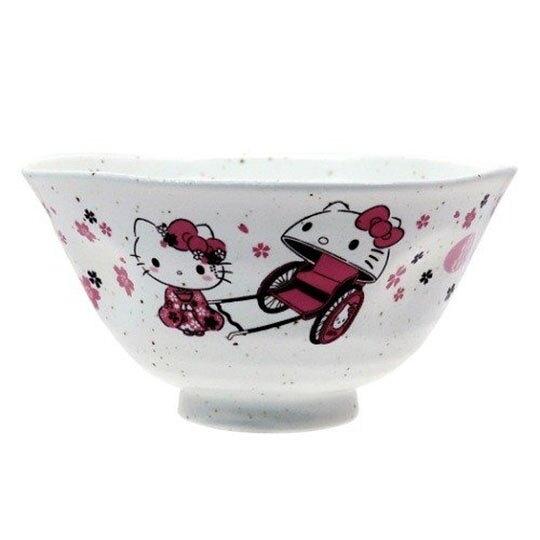 〔小禮堂〕Hello Kitty 日製陶瓷碗《粉白.人力車》飯碗.湯碗.金正陶器 4964412-31220