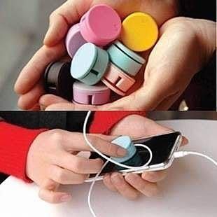 【發現。好貨】韓國糖果色馬卡龍捲線器 繞線器 手機螢幕擦 集線器 兩用