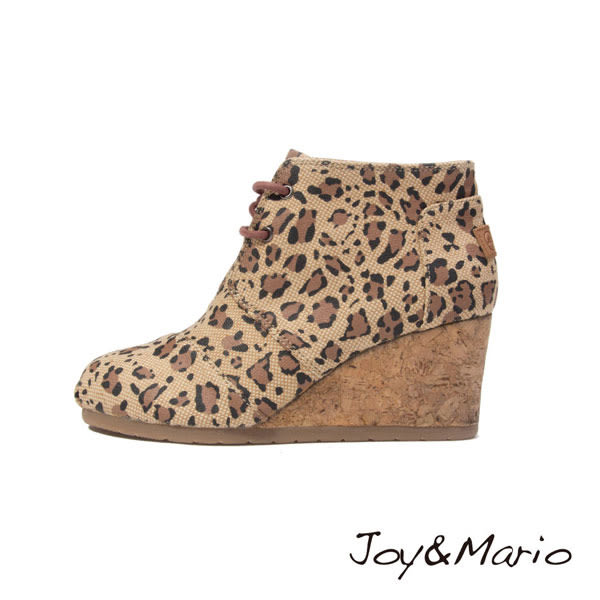 【Joy&Mario】經典豹紋厚底短靴 - 89053W CAMEL