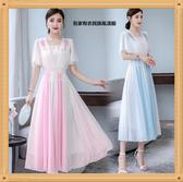 連身裙 藍白拼接國風女裝改良漢服修身仙氣長裙