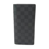 LOUIS VUITTON LV 路易威登 黑色棋盤格二折長夾 Brazza M62665 【二手名牌BRAND OFF】