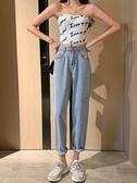 夏季老爹褲女小眾設計感高腰直筒寬鬆闊腿牛仔長褲潮春季新品
