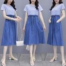 VK精品服飾 韓系條紋襯衫牛仔藍木耳邊裙...