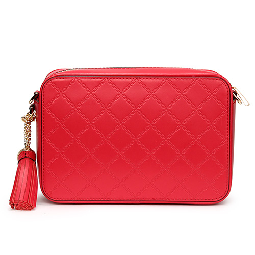 MICHAEL KORS 菱格鏈飾紋皮革金鍊斜背立體方包(亮紅色)611325-3