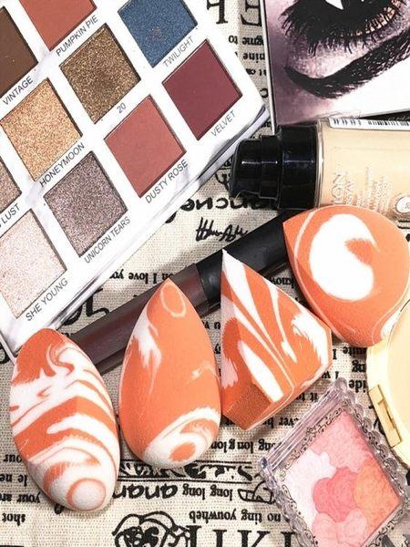 美妝蛋鉆石款美妝蛋魚系列三文魚混色美妝底妝工具化妝海綿粉撲
