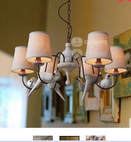 設計師美術精品館歐式複古美式鄉村田園客廳燈具餐廳咖啡廳麻布六鳥吊燈