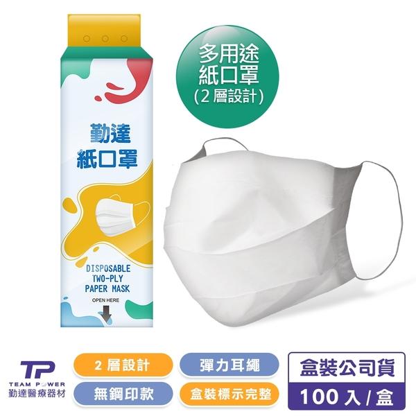 【勤達】二層設計防塵紙口罩100入/盒-F12 (居家清潔口罩、食品加工口罩一般使用)