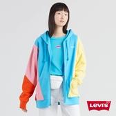 Levis 女款 連帽外套 / Oversize 寬鬆版型 / 淺色系撞色拼接 / 刺繡字母Logo