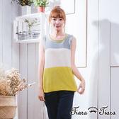 【Tiara Tiara】激安 無袖針織橫紋x撞色內搭上衣(藍/橘/黃)