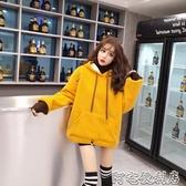 羊羔毛毛衣假兩件連帽衛衣冬季新款韓版寬鬆加厚毛線上衣女士(快速出貨)