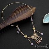 瓔珞項圈 復古民族風燒藍古裝金色珍珠項鍊漢服配飾 - 雙十一熱銷