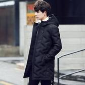 羽絨夾克-連帽純色中長版休閒保暖男外套73qb29[巴黎精品]