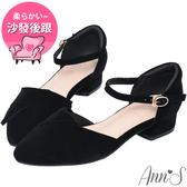 Ann'S優雅秘訣-造型方結繫帶低跟尖頭鞋-黑