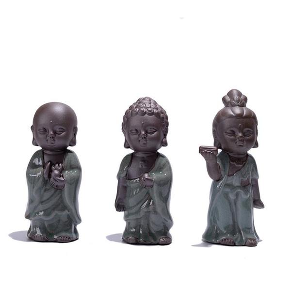 哥窯紫砂茶寵擺件精品小佛像如來觀音茶道茶玩茶具配件【聚寶屋】