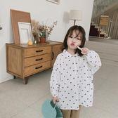 2019春夏韓國童裝韓版兒童襯衫女童薄款小翻領中長款寬鬆愛心襯衫