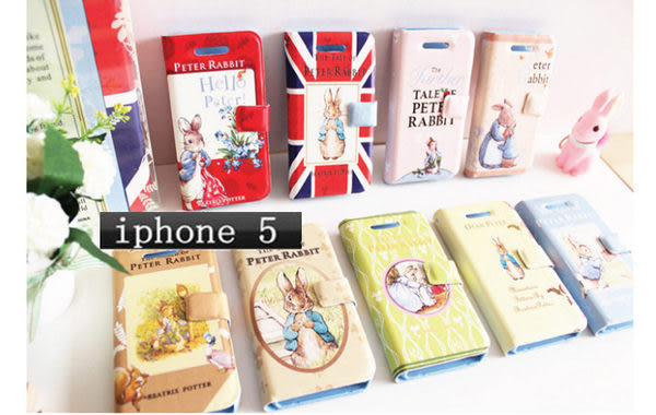 iphone 5免運 彼得兔iphone 5 note2 超薄左右翻皮套 手機皮套 保護殼