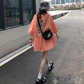 ins超火2019夏季新款原宿風學生寬鬆大版韓版印花中長款短袖T恤女 潮人女鞋