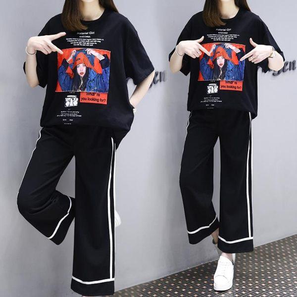 (工廠直銷不退換)2303#大碼女裝胖妹妹寬松顯瘦時尚印花擴闊九分腿心機套裝F-4F088韓依戀