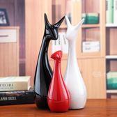 小鹿三口之家陶瓷擺件家居裝飾品電視柜客廳現代簡約實用結婚禮物 DA3630『毛菇小象』
