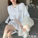 2021春夏新款加厚打底衫寬鬆百搭中長款白色T恤短袖格子上衣女裝 小艾新品