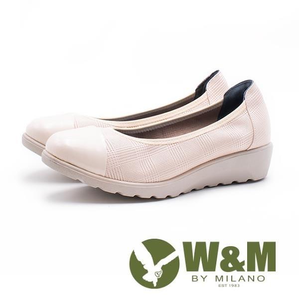 【南紡購物中心】W&M 亮皮鞋頭格紋厚底娃娃 女鞋 - 米(另有黑)