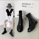 大尺碼女鞋34~43 2020歐美簡約百搭圓頭中跟馬丁靴 短靴~黑色