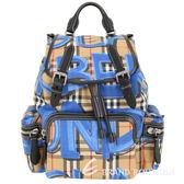 BURBERRY The Rucksack Vintage 中型塗鴉格紋軍旅背包(藍色) 1840215-B3