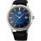 【台南 時代鐘錶 ORIENT】東方錶 FAC08004D 沉穩氣質簡約時尚機械錶 皮帶 藍面/黑 42mm