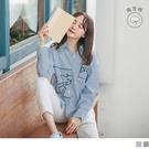 《AB11959》高含棉.貓咪刺繡條紋長版襯衫/上衣--適 XL~6L OrangeBear
