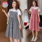 漂亮小媽咪 韓式 格紋 哺乳洋裝 【B9822】 假兩件 吊帶裙 背心裙 短袖 洋裝 孕婦裝 哺乳裝