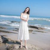 夏季新款女裝法國小眾海邊度假網紗長裙仙女裙子很仙的吊帶連衣裙