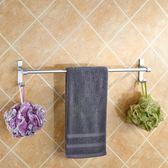 免打孔毛巾架衛生間浴巾架毛巾桿浴室掛件掛架衛浴雙桿毛巾架