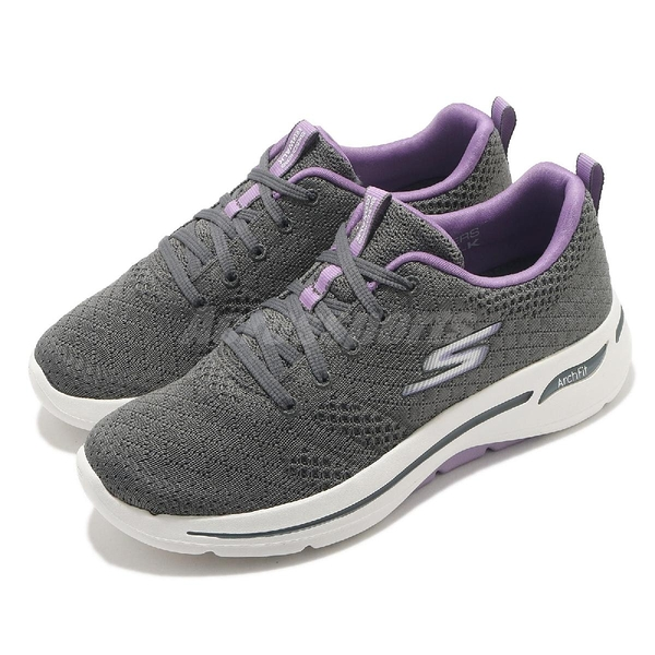 Skechers 休閒鞋 Go Walk Arch Fit-Unify 灰 紫 女鞋 健走鞋 運動鞋 【ACS】 124403GYLV