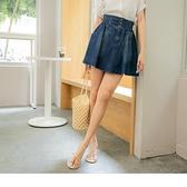 《CA2340》高含棉牛仔寬版腰鬆緊高腰排釦短裙 OrangeBear