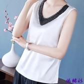夏季新款重工釘珠真絲無袖背心女寬鬆加大碼女裝上衣