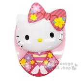 〔小禮堂〕Hello Kitty 造型塑膠蛋形梳《粉.和服》按摩梳.隨身梳 4991567-26622