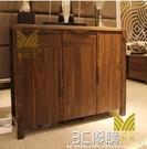 鞋櫃 名匠居現代中式實木鞋櫃大容量黑胡桃色1.2米三門客廳陽台玄關櫃 3C優購HM
