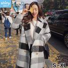 【V9121】shiny藍格子-優雅迷人.冬季黑白格子中長款毛呢大衣