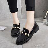 ins小皮鞋女復古漆皮英倫平底珍珠學生一腳蹬 黑色工作鞋 可可鞋櫃