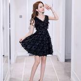 無袖洋裝夏季新款時尚顯瘦V領羽毛流蘇修身連衣裙 JD3657【3C環球數位館】