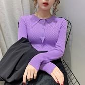 針織上衣 polo針織衫女長袖薄款毛衣秋季洋氣打底衫內搭上衣DC12依佳衣