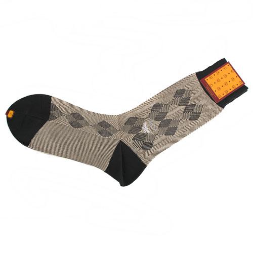 MCM 斜紋雙菱格紋紳士襪(褐色)980199