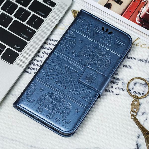 三星 A30s 圖騰大象皮套 手機皮套 插卡 支架 磁扣 壓紋 掀蓋殼