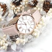 GOTO 羅馬風情時尚腕錶 女錶 真皮錶帶 學生錶 玫瑰金x粉色 GL0054L-48-241