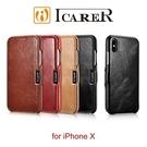 【默肯國際】ICARER 復古系列 iPhone X 磁扣側掀 手工真皮皮套 手機殼 保護殼 防摔 手機皮套