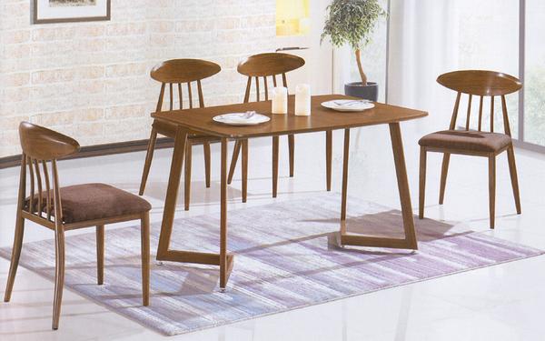 【IS空間美學】鐵藝仿胡桃木桌椅組 一桌四椅